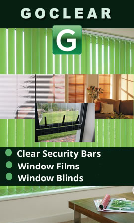 Clear Burglar Bars, Blockhouse Security Shutters, Blinds, Lock latches, Clear View Security Bars