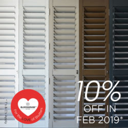 Blockhouse Shutters,  a range of colours – 10% off